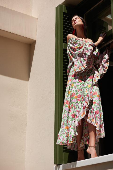 1439 Bali Wrap Skirt floral white